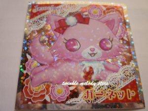 KAWAII JAPAN SANRIO SEGA JEWEL PET PRISM SILVER STICKER SEAL CARD #3 PINK CAT KITTEN
