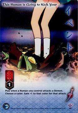 This Human is Going to Kick Your...CARD #194  INUYASHA TCG TETSUSAIGA  RARE PRISM FOIL CARD GAME