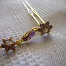 HAIR ACCESSORIES FASHION/WEDDING GOLD HAIR PIN STICK FLOWER DANGLE SWAROVSKI PURPLE CRYSTAL