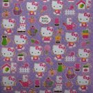 SANRIO HELLO KITTY NEW GLITTERY STICKER DIE CUT GOLD TRIM 62 PCS.