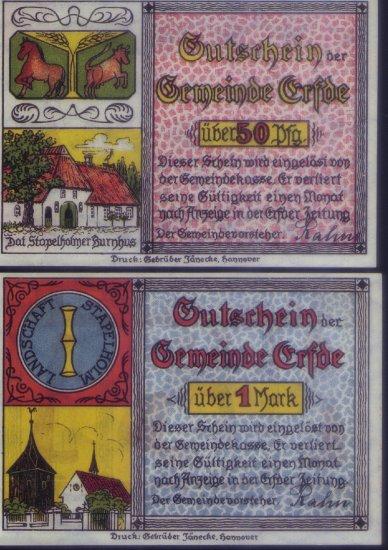 German Notgeld - 50 pfennig & 1 mark, Gemeinde Crfde