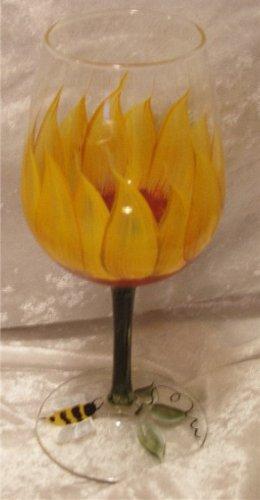 3-D Sunflower Wine Glasses, set of 4