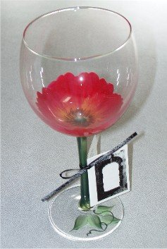 3-D Poppy Wine Glasses, set of 4
