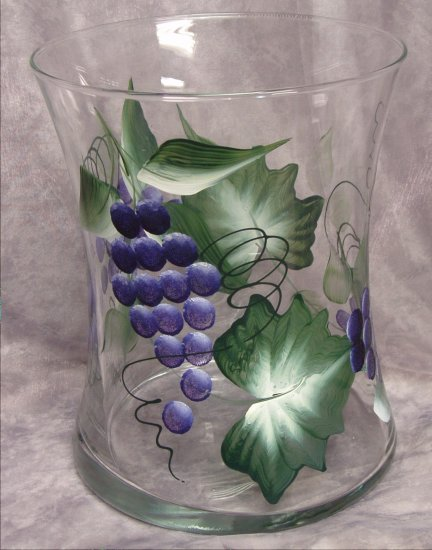 Hand Painted Purple Grape Hourglass Ice Bucket/Vase