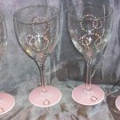 Hand Painted Retro Pink Wine Glasses, set of 4