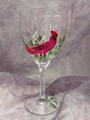 Hand Painted Cardinal Wine Glasseses, set of 4