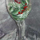 Hand Painted Pine and Berries Wine Glasses, set of 4