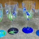 Hand Painted Fish Wine Glasses, set of 4