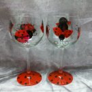 Hand Painted Lady bug Wine Glasses, set of 4