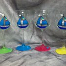 Hand Painted Turq. Blue Sailboat Wine Glasses, set of 4