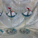 Hand Painted Turq. White Sailboat Wine Glasses, set of 4