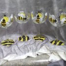 Hand Painted Bumble Bee Wine Glasses, set of 4