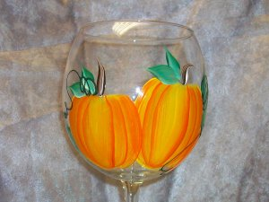 Hand Painted Pumpkin Wine Glasses, set of 4