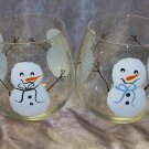Hand Painted Snowman Stemless Wine Glasses, set of 4