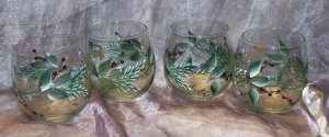 Hand Painted Pine & Berries Stemless Wine Glasses, set of 4
