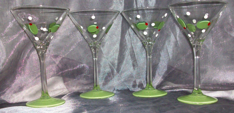 Hand Painted 13oz. Olive martini glasses, set of 4