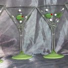 Hand Painted 13oz. Olive martini glasses, set of 4