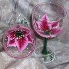 Hand Painted White/Berry Poinsettia Wine Glasses, set of 4