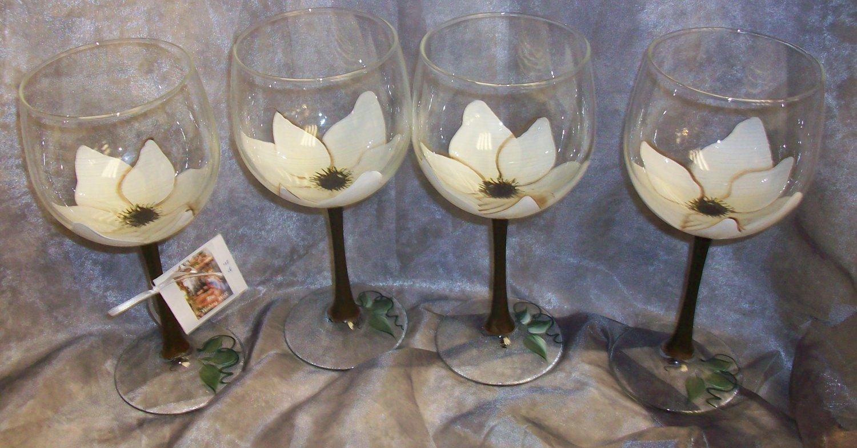 3-D Magnolia Wine glasses, set of 4