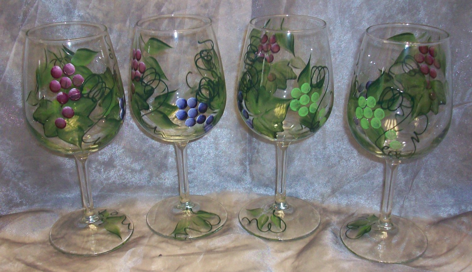 Hand Painted Multi Color Grape Wine Glasses Set Of 4