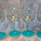 Hand Painted Retro Turquoise Wine Glasses, set of 4