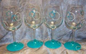 Hand Painted Retro Turquoise Wine Glasses, set of 4