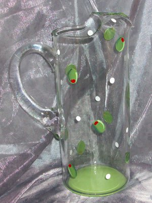 Hand Painted Olive Pitcher