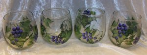 Hand Painted Stemless Wine glasses, Purple Grapes