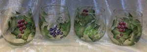 Hand Painted Stemless Wine glasses, Multi Color Grapes