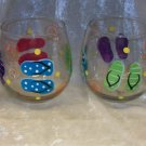 Hand Painted Stemless Wine glasses, Multi Flip Flops