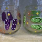 Hand Painted Stemless Wine glasses, Flip Flops
