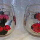 Hand Painted Stemless Wine glasses, Lady bugs