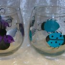 Hand Painted Stemless Wine glasses, Neon Lady bugs