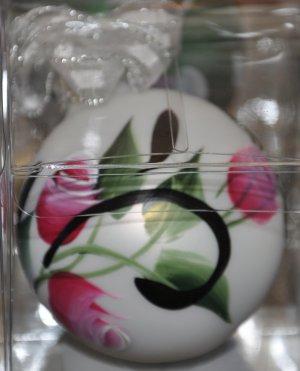 Hand painted Rosebuds & swirls Christmas Ornament