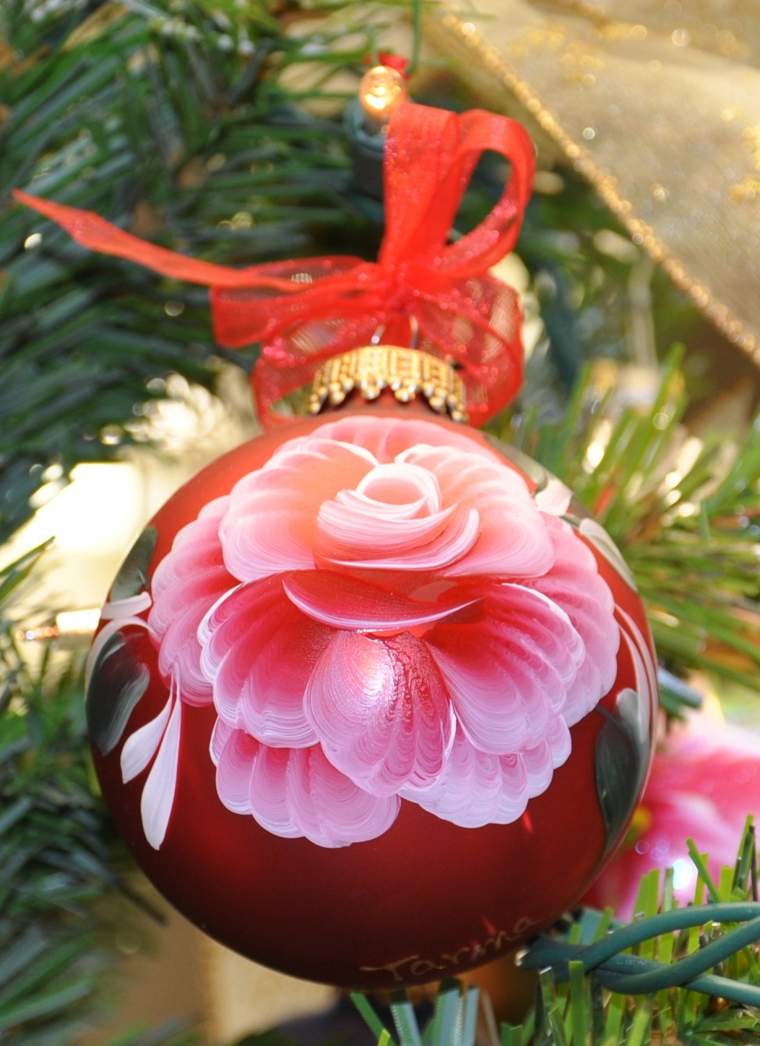 Hand painted Rose Christmas Ornament