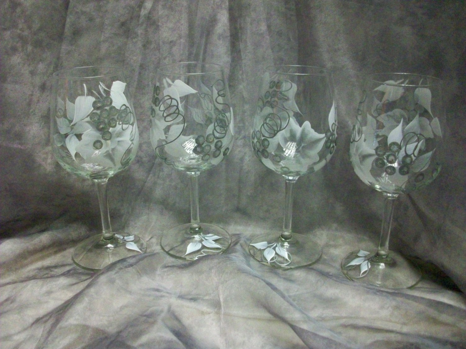 Hand Painted White/Silver Colored Grape Wine Glasses, set of 4