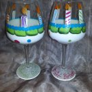 "Hand Painted ""Birthday Cake""  Wine Glass"