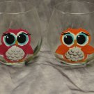 Hand Painted Stemless Wine glasses, Owls