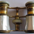 Old Mother-of-Pearl Opera Glasses Colmont FI Paris Traub Bros Detroit in Leather Case