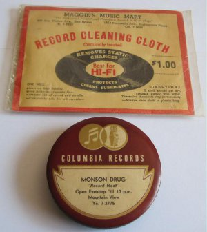 Vintage Columbia Records Cleaner Cloth Advertising Monson Drug Record Nook Maggies Music Mart