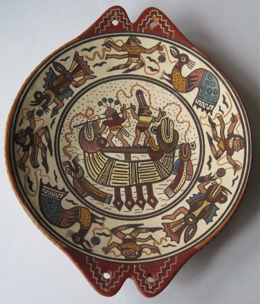 Antonio Olave Cusco Peru Hand Painted Terra Cotta Art Pottery Dish Ancient Incan Motif South America