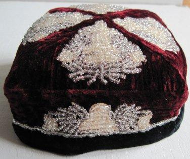 Vintage Maroon Black Beaded Velvet Russian Square Doppa Skullcap 1963 Man�s Hat Men�s Apparel