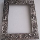 Old Ornate Barbour Silverplate Rectangular Picture Frame Repousse Flowers Scrolls 10x13 3481