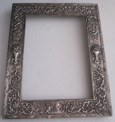 Old Ornate Barbour Silverplate Rectangular Picture Frame Repousse ...