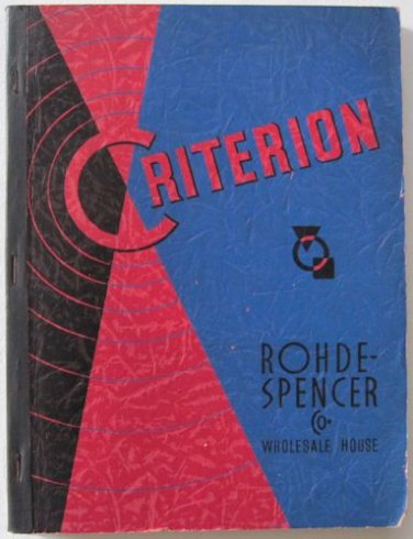 1940 Criterion Rohde-Spencer Wholesale Catalog General Merchandise Furniture Jewelry Kitsch 404 pgs