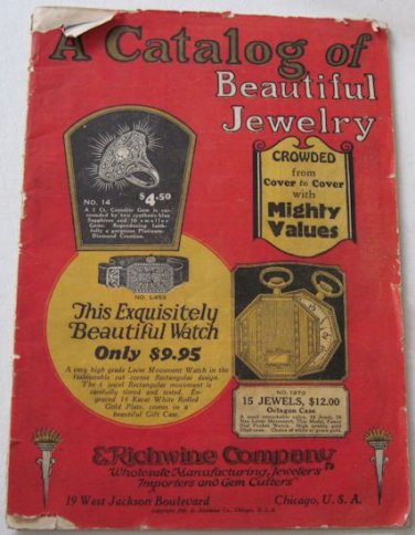 1925 Catalog of Beautiful Jewelry E Richwine Co Wristwatches Musical Instruments Gifts Corodite 52p