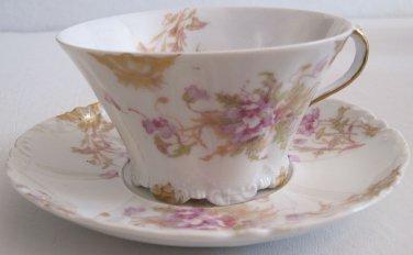 Theodore Haviland Limoges Porcelain Cup Saucer Caroline Blank Schleiger 147q Lavender Floral
