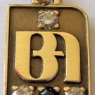 14K Gold 3 Diamonds Sapphire Charm Pendant Bank of America Service Award BA