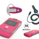MOTOROLA Limited Edition Pink V3 Bluetooth Combo plus Car Charger