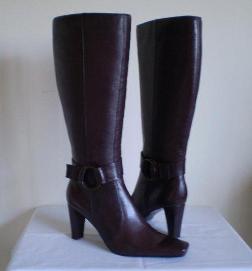 Bandolino Dioela leather tall knee high boots heels 9.5